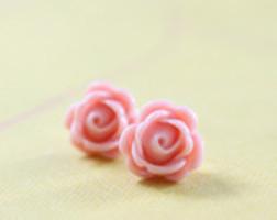 pink rosebud earrings