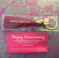 "Birchbox ""Happy Anniversary"" Pink (leather?) tassel keychain with gold accents $15.00 value"