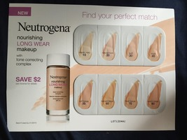 Neutrogena Long wear makeup swatch card plus $2 off coupon