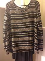 Le Lis Brown & Black Striped sweater w/ Chiffon back