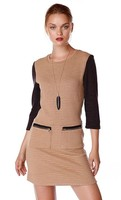 THML Tan Zippered Pocket Dress