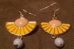 Fan shaped enamel earrings