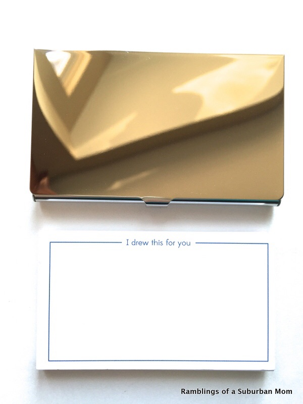 Mirrored business card holder with blank cards
