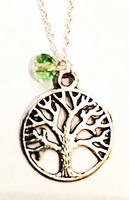 Silver Tree of Life Necklace with Mint Green Bead Charm