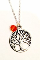 Silver Tree of Life Necklace with Orange Bead Charm