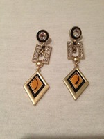 Jewelmint Gold Black Orange Rhinestone Drop Earrings