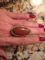 Brown Sparkle Gold Tone Stretch Ring