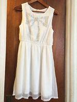 Ya Los Angeles White Sleeveless Dress with Rhinestone Bow
