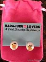 Harajuku Lovers Cute Bow Girl Pearl Stud Earrings