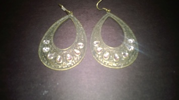 Bronze and white earrings