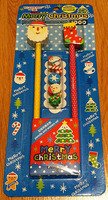 Kawaii Christmas Pencil & Eraser Set