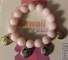 Kawaii Box Faux Pink Pearl & Gold Seashell Bracelet