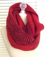 Simonetta Herringbone Knit Infinity Scarf - RED