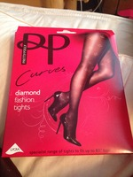 Pretty Polly curves diamond fashion tights XXL in black