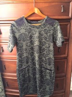 Potter's Pot olive print dress with leather accents