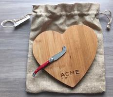 ACME Party Box Company Bamboo Heart Cutting Board & Cheese Knife