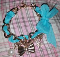 Blue Ribbon Charms & Chains Bracelet