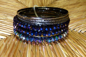 Robert Rose Lantern Bead and Metal Bangles