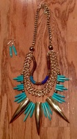 spiked Aztec turquoise necklace & earrings set