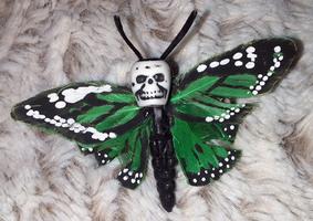 Green Skull Monarch Butterfly Barrette