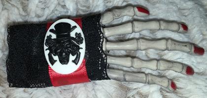 Victorian Cameo Skeleton Hand Barrette