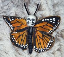 Skull Monarch Butterfly Barrette