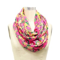 Betsey Johnson Pink and Yellow Rose Infinity Scarf