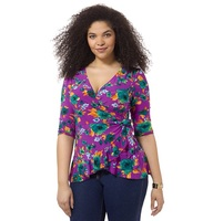 PRETTY IN PRINT WRAP TOP IN MAGENTA FLORAL