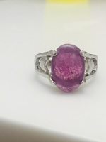 Silver Ring with Purple Stone