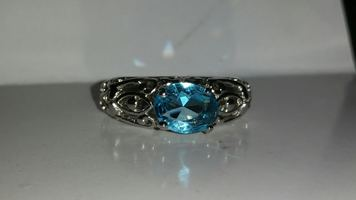 Blue Topaz sterling silver ring Size 7 or 7.5