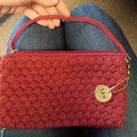 The SAK Maroon Crochet Wristlet Coin Purse