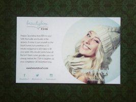 Beauty Box 5 December 2014 box info/product card