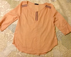 Jella Couture peach top with embroidery