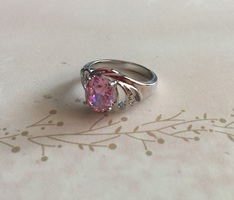 Silver & Pink Stone Ring