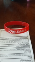 "red ""Love My Sidekick "" wristband from 1up Box May"