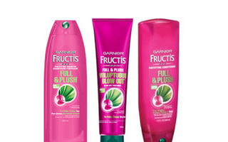Garnier Fructis Full & Plush Shampoo, Conditioner and Voluptuous Blow Out Treatment