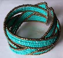 Mission Cute Aqua Beaded Cuff