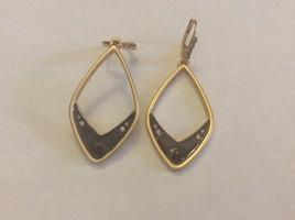 Gold drop earrings with rhinestones