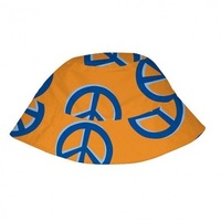 I play Mod Bucket Sun Protection Hat-Orange with Peace signs