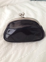 Small Black Patent Leather Clutch w/ Kisslock