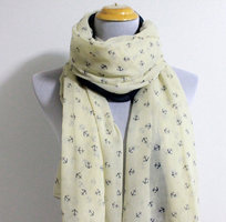 Cream and navy anchor scarf