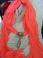 Coral Scarf with Charms