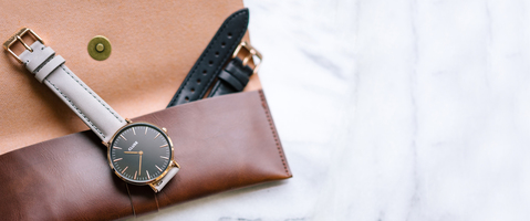 CLUSE La Bohème rose gold watch with interchangable grey and black straps. ($132 Value).