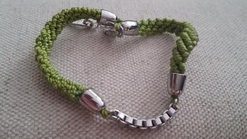 Green Woven & Metal Bracelet