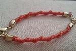 Coral Woven & Metal Bracelet
