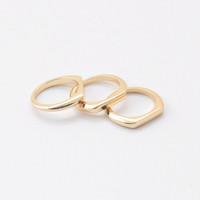 Gold Plated Kara Stacking Ring Set - size 7