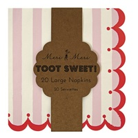 Meri Meri Toot Sweet Pink Stripe Napkins