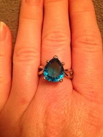 Bright Blue Pear Shaped Stone Ring