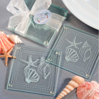 Set of 2 Beach-Themed Glass Coasters