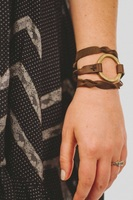 Parker Clay Upcycle Artillery Leather Wrap Bracelet